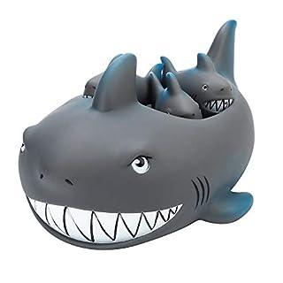 Wasserspielzeug, JiaMeng Shrilling Rubber Cute Shark Familie Badewanne Pals Schwimm Badewanne Spielzeug für Kinder (4-er Set, AS Zeigen)
