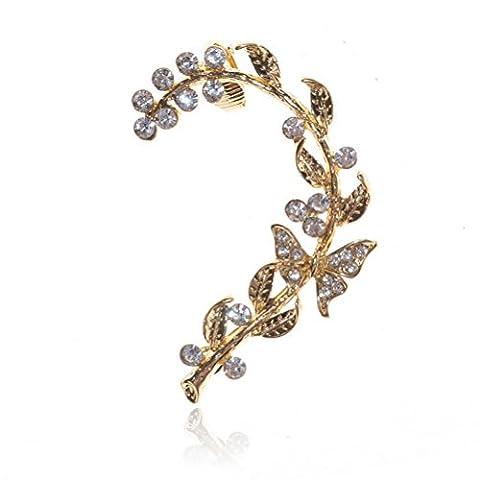 Butterfly Crystal Gold Leaf Rhinestone CZ Stud Clip earrings (1 Pc) S444K12