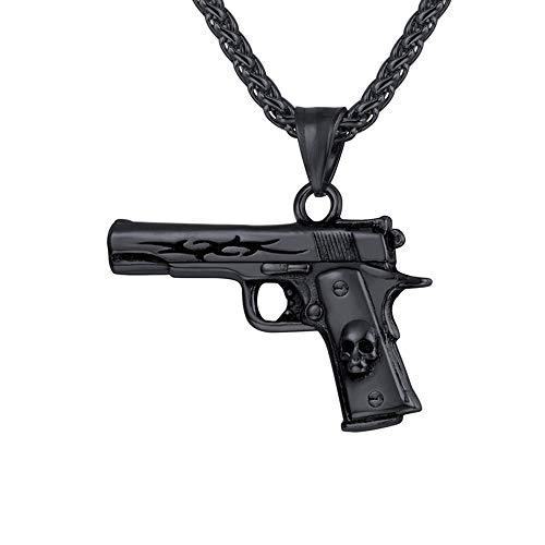 schwarz Edelstahl Sturmgewehr Mini Uzi Form Anhänger mit 50+5cm Weizenkette Coole Armee Gewehr Waffe Hip Hop Modeschmuck Geschenk für Männer Jungen ()