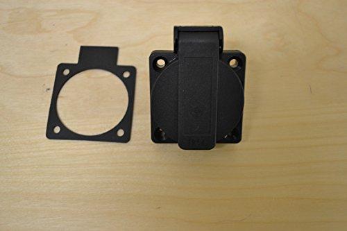 PCE 13Amp 2P+E 230v (British Standard) Black PanelSocket Outlet IP54 Splashproof