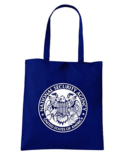 T-Shirtshock - Borsa Shopping FUN0153 06 18 2013 NSA Peeping Eagle T SHIRT det2 Blu Navy