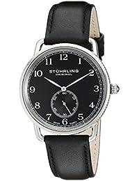 Stuhrling Original  207.02 - Reloj de cuarzo para hombre, con correa de cuero, color negro