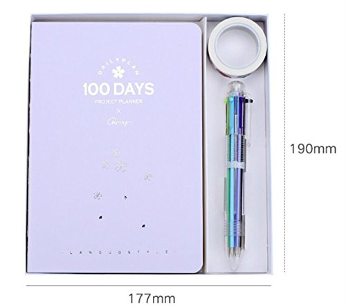 (Sun Glower Büro Schulbedarf 100 Tage Plan Buch Schreibset für Studenten (lila) Briefpapier Geschenkset)