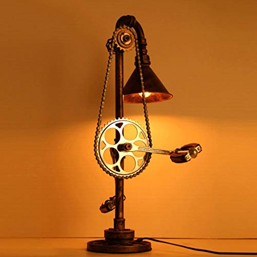 PoJu Nordic Retro Steam Punk Gear Tischleuchte Bar Cafe Industrial Decoration Wasserrohr Lampe E27 * 1 -