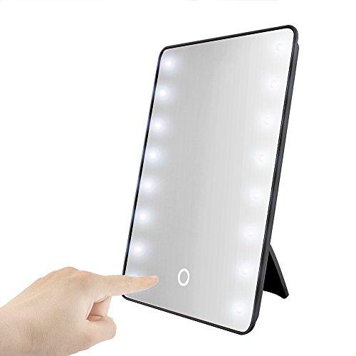 Skitic Touch LED Illuminato Specchi da Trucco con Cavalletto, 16LED Luce Specchio Cosmetici Dimmerabile Countertop Cordless Specchio per Tavolo, Bagno, Viaggio, Rasatura, Dressing - Nero
