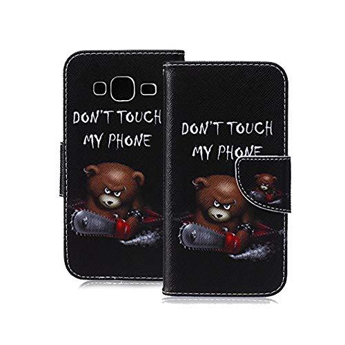 KATUMO® Etui Compatible avec Samsung Galaxy J3 (2016) J320F -Coque de Protection Etui en PU Cuir Portefeuille pour Galaxy J3 Housse Coque Flip Case Cover Étui Protecteur-Ours