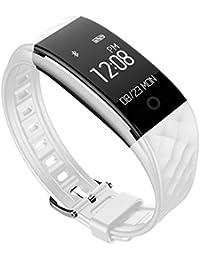 Rastreador de fitness multifunción elegante pulsera, Podómetro Ritmo cardíaco y monitor de sueño Led Impermeable Llame y masaje recordatorio, Pulsera de bluetooth-A