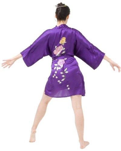 Longueur cuisse kimono de soie avec la conception peinte à la main Violet