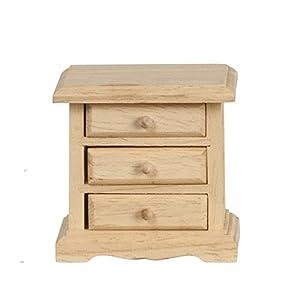 MELODY Jane Casa De Muñecas mesilla de noche 3 DRW Sin Terminar madera en Bruto Miniatura Muebles de dormitorio