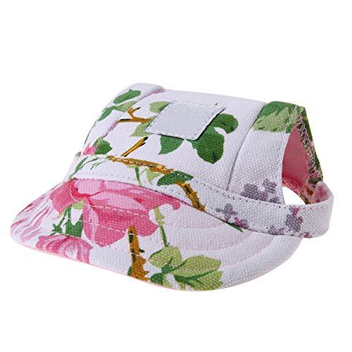 Fliyeong Mode Haustier Mütze Hund Sport Hut Haustier Baseballmütze Sonnenhut Leinwand Visierkappe mit Ohrlöcher und Einstellbar (M Code)