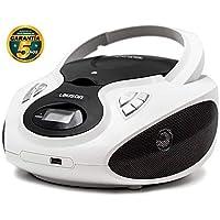 Lauson CP630 Lettore Cd Portatile | USB | Bambini Radio | Stereo Radio digitale FM | Boombox | CD/MP3 Player | LCD-Display (Bianco)