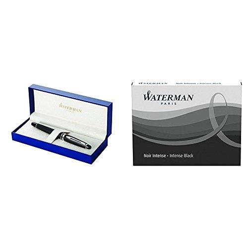 Waterman Expert 3 Penna Stilografica Matte Black, Finiture Cromate, Pennino Medio + Ricariche D'Inchiostro Nero