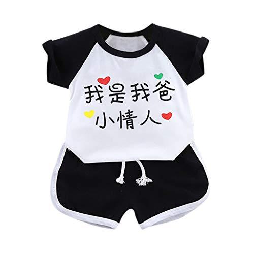 Cuteelf Babyanzug Baby Kurzarm gedruckt Hemd Shorts 2 Stück Set Baby Mädchen Kleidung drucken T-Shirt chinesische Schriftzeichen Ich Bin Mein Vater, Kleiner Liebhaber (Chinesisch Lieferung Kostüm)