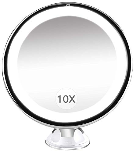 Rain - Espejo de Maquillaje con 10 aumentos, luz con USB, Recargable, Giratorio 360 Grados, Inoxidable...
