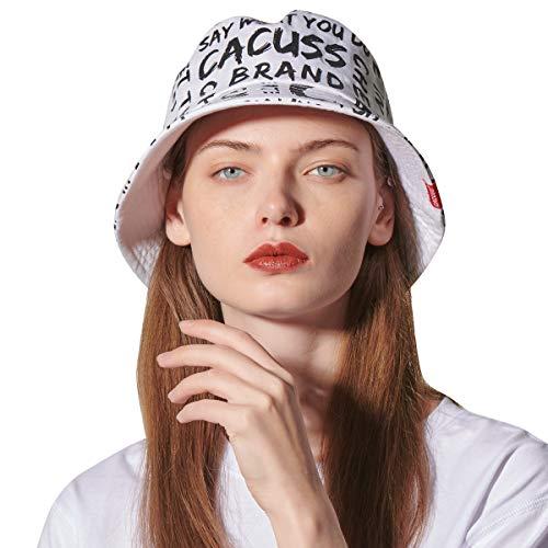 CACUSS Damen faltbar Fischerhut Outdoor Sonnenhut UPF 50+ UV Herren Bucket hat Mädchen safarihut Baumwolle Hut weiß L
