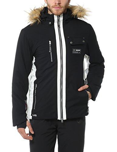 Ultrasport Snowfox - Giacca da Sci e Alpinismo da Uomo con Tecnologia Ultraflow 8.000 - Giubbotto Funzionale Outdoor per Sport Invernali e Tempo Libero, Nero, XL