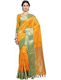 Varkala Silk Sarees Women's Katan Silk Self Design Kanjiwaram Saree(JB5077_Mustard_Free Size)