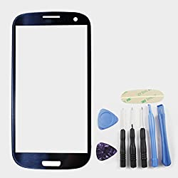 Pebble Blue Front Glass (Lcd Display & Touch Screen Not Included) For Samsung Galaxy S3 Iii Gt-i9300 ~ Mobile Phone Repair Part Replacement