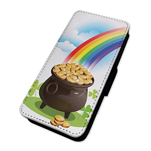 Lucky pot of Gold – Irish Rainbow fantasy – Flip cover in pelle copertura di carta Apple Iphone 5/5s/SE