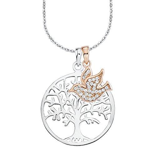 Amor Damen-Kette 45 cm mit Anhänger Lebensbaum/Vogel 925 Silber teil-rosévergoldet Zirkonia weiß