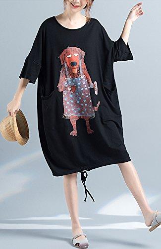 ONECHANCE Frauen 100% Baumwolle Kurzarm Rundhals Karikatur Loose Kleid Plus Size Schwarz