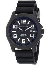 Momentum Cobalt V - Reloj analógico de caballero de cuarzo con correa de goma negra - sumergible a 100 metros