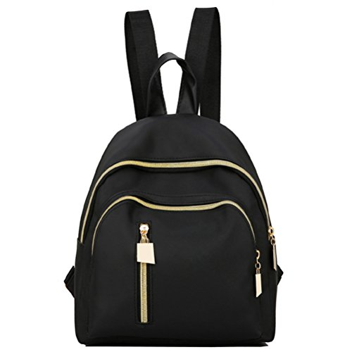 Korean Style Nylon Waterproof Women Shoulder Bag OULII Fashion Portable Lady Handbag Casual Backpack for Teenage Girls (Black)