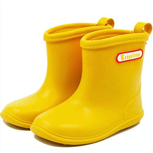 BAIYOU Kinder Gummistiefel Kinderschuh Baby Wasserdicht Schuhe (Alter 2-6 - Stiefel Regen Kleinkind-gelb