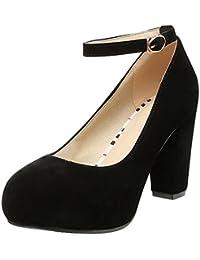 Agodor Damen Blockabsatz High Heels Pumps mit Riemchen und Plateau Geschlossen Elegante Arbeit Schuhe