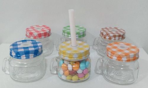 Vasetto bomboniera barattolino vetro con manico e cannuccia tappo a vite vari colori cm 6x5 confezione da 12pezzi - senza confetti