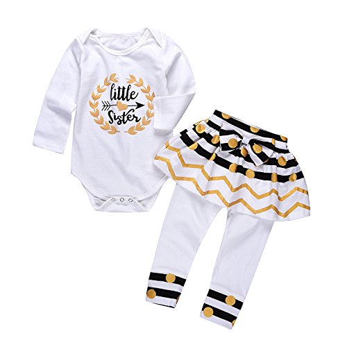 HBER 0-24 Monate Baby Mädchen Kleine Schwester Spieler Bodys Röcke Gamaschen Hosen Geschenke Bekleidungsset (Big Sisters Rock)