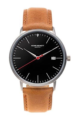 Henri BENETT Bauhaus Uhr Saphirglas - 38 mm | Schweizer Ronda Uhrwerk | Herrenuhren mit Lederarmband...