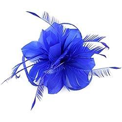Tocados De Pinza Para El Pelo Cabeza De Mujer Novia Para Fiesta Boda Moderno Con Pluma (Azul)