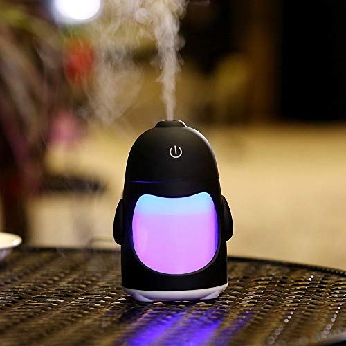 Vency Penguin Shaped Mini Air Freshener Humidifier With7 Color LED night LightHumidifier ForCar, Home And Office(Multi Color)
