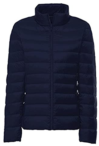 Stand Collar Outwear Packable Ultra Light Weight Down CoatNLL(Navy,X-L)