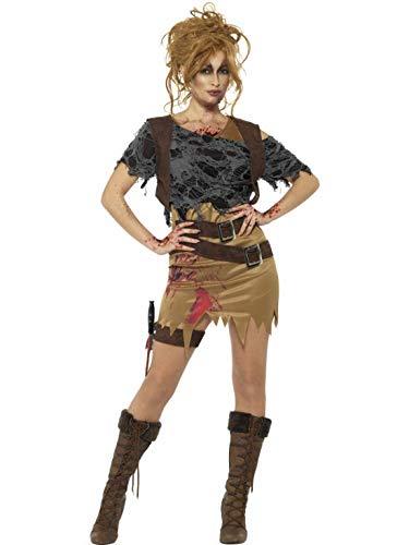 costumebakery - Damen Frauen Kostüm Zombie Jägerin Amazone Kleid mit Gedruckter Weste auf Shirt Dolch und Halfter, Deluxe Horror Hunterin , perfekt für Halloween Karneval und Fasching, XS, ()