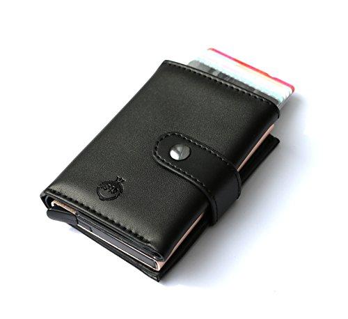 Geldbörse für Herren: Business Wallet Kartenetui, RFID geschützt, Mini Wallet, Geldbörse für Karten & Bargeld, einfache aufbewahrung von Karten (Schwarz)