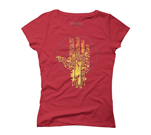Cyborg Hand Women's Graphic T-Shirt - Design By Humans Red