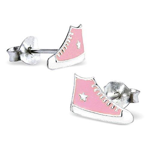 925-Sterling-Silber rot-weiße-Trainer Ohrstecker - mit gratis Geschenkbeutel (Schuhe Maß 10 x 6 mm) mit Epoxy-Farbe Retro Kinder im Converse-All-Stars-Stil
