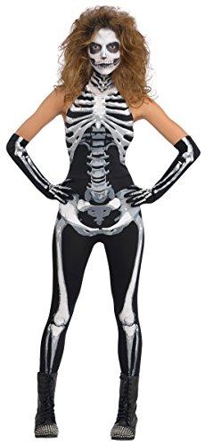 ay of Death High Neck Skelett Overall, S, Schwarz (Einfache Cat Kostüme Für Frauen)