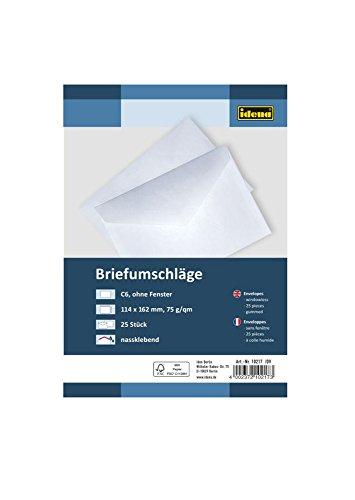 Idena 10217 - Briefumschläge DIN C6, 75 g/m², nassklebend, ohne Fenster, 25 Stück, FSC-Mix, weiß