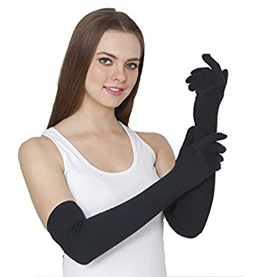 TeeMoods Women's Cotton Full Hand Protective Summer Gloves, Protection from Sun burns/Dust/Pollution while driving/biking