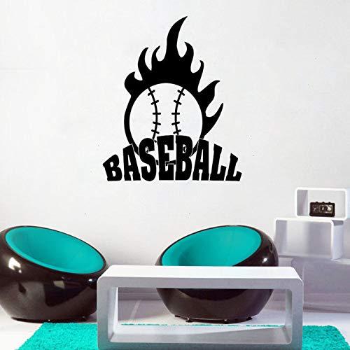 Baseball Wandaufkleber Feuer Zitat Wand-dekor Sport Wand-dekor Jungen Schlafzimmer Dekor 57X67CM