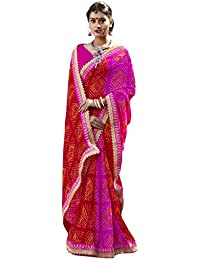 Vastrang Sarees Women's Georgette Bandhani Saree With Blouse Piece - CHN32411_Pink And Red_Free Size