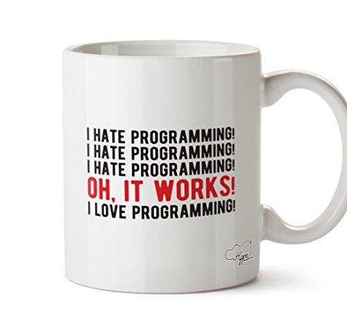 hippowarehouse I Hate Programmierung, ich liebe Programmierung 283,5Tasse, keramik, weiß, One Size (10oz)