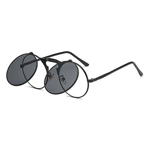 Retro Punk Style Flip-up-Sonnenbrille für Frauen Männer Metallrahmen umrandeten Sonnenbrille Runde klassische Unisex Sonnenbrille Schwarz UV-Schutz Sonnenbrille Sonnenbrille für Kleidung Ornamente S