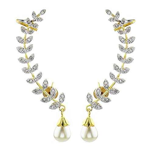 Aarav Gold Plated American Diamond Leaf Shape Ear Cuff Earring Jewellery For Women / Girls  available at amazon for Rs.299