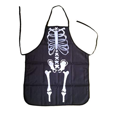 Healifty Halloween Skelett Lätzchen lustige Skelett Spooky ortable Halloween Küche Neuheit Kostüm Schürze für Erwachsene Kostüm (schwarz)