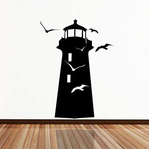 WWYJN Lighthouse Wall Stickers Vinyl Lighthouse Birds Ocean Gull Wall Decal Home Living Room Decor Lighthouse Wall Art Mural Black 57x78cm -