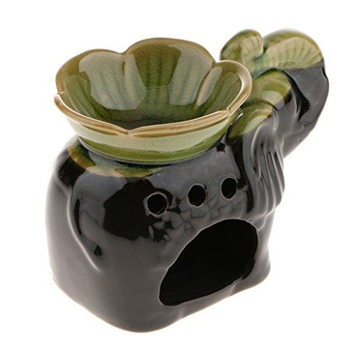 KESOTO Incensario Quemador de Incienso Soporte Candelabro de Velas Diseño de Elefante Backflow - Verde